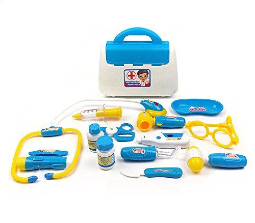 DINHAND Kids Basic Skills Development Doctor Pretend Play Kit Toys Sets with Lights and Sounds Emergency Medical Doctor Children Role Play Learning Educational Playset Toy (Costume Role Playset)