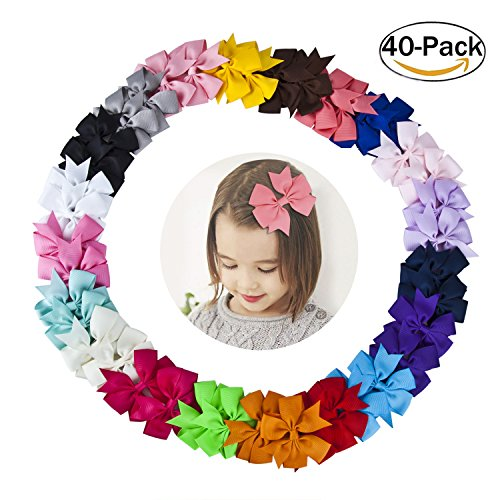 Baby Hair Accessories, 40Pcs Hair Bows for Girls Boutique Grosgrain Ribbon Pinwheel Hair Bow with Alligator Clips for Baby Toddlers In Pairs (Boutique Accessories)
