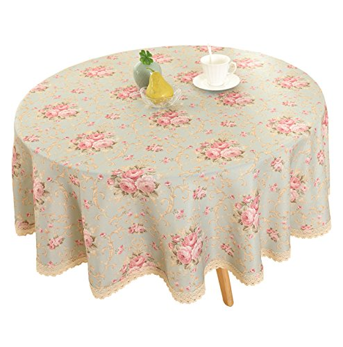 """Vintage Flower Decorative 55"""" Round Linen Tablecloth by HIGHFLY - Printed Pattern Washable Table cloth Dinner Kitchen Home Decor - Multi Colors & Sizes"""