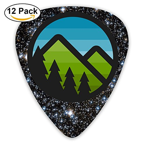 Mountain Badge Guitar Picks For Acoustic Guitar - 12 Pack CUILL Plectrums Includes Thin, Medium & Heavy Gauges ()
