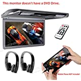 XTRONS 13.3 HD 1080P Video Car MPV Roof Flip Down Slim Monitor Overhead Player Wide Screen Ultra-thin with HDMI Input New Version Black IR Headphones Included No DVD