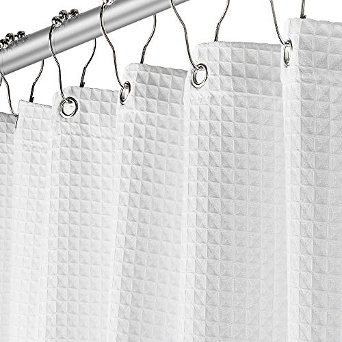 Creative Scents White Fabric Shower Curtain for Bathroom - Spa, Hotel Luxury, Waffle Weave Square Design, Water Repellent, 72
