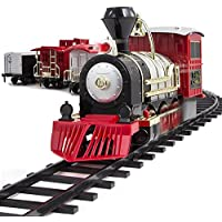 34-Piece FAO Schwarz Motorized Train Set (Black/Red/White)
