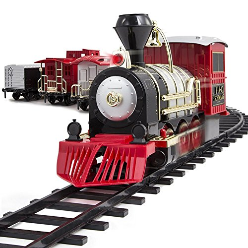 FAO Schwarz Classic Motorized Train Set, 34-Piece Complete Toy Set with Engine, Cargo, 20 Feet of Modular Tracks, for Children, 4 Unique Train Cars LED Light-Up, Realistic Sound Effects, Amazing - Collectible Car Train