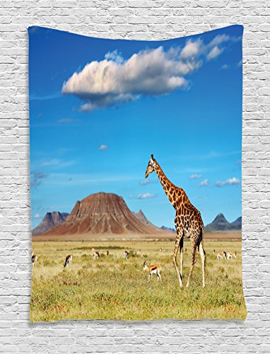 - Ambesonne Safari Decor Collection, African Savannah with Giraffe and Grazing Antelopes Volcano Summer Sky Picture, Bedroom Living Room Dorm Wall Hanging Tapestry, Blue Green