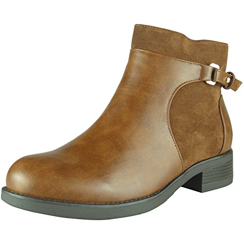 Loud Look Womens Buckle Ankle Boots Ladies Low Heel Casual Work Chelsea Flat Shoes Size 3-8 Tan