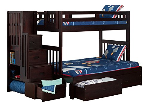 twin over full espresso bunk bed - 5