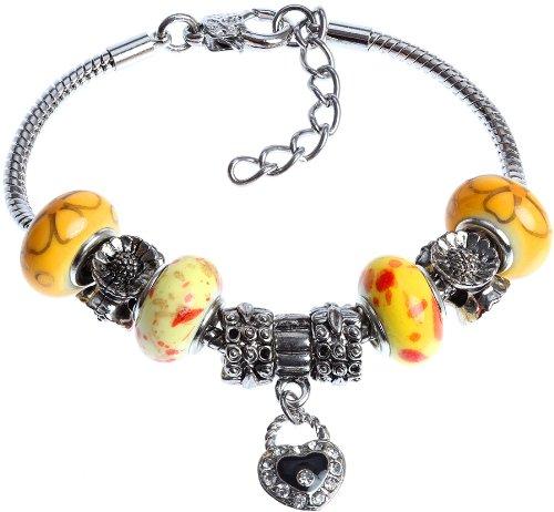 royal-diamond-sunny-delight-yellow-murano-style-beaded-charm-bracelet
