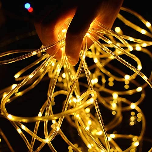Vegena Solar String Lights Rope Lights Outdoor,12M 100 LEDs 8 Modes IP65 Waterproof Tube Light Copper Wire Fairy Lights for Garden Tree Christmas Wedding Party Decor Warm White