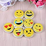 Rack Jack Emoji Storage Round Case Pouch Bag with Zipper Pack of 2 Assorted Colours for Earphone/USB/Pendrive Carry Multipurpose Use