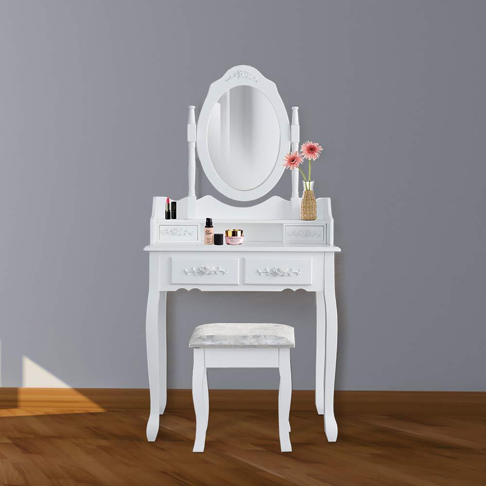 wolketon Tocador Mesa Maquillaje tocador Blanco con Espejo y Taburete,Espejo Plegable 1 Piezas 4 Cajones y Taburete Acolchado Estilo Rom/ántico