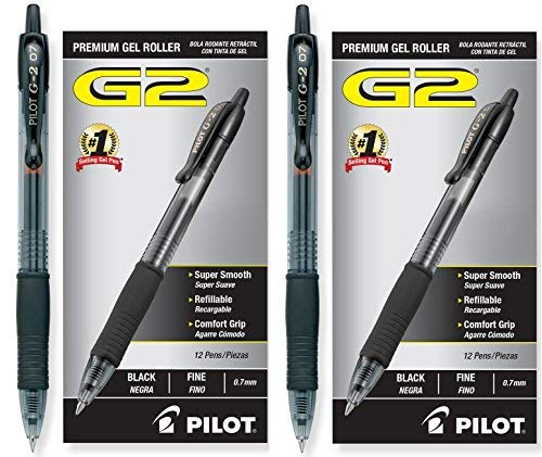 Pilot G2 Retractable Premium Gel Ink Roller Ball Pens, Fine Pt, 24 Pack, Black