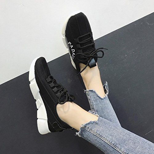 Fabric Shoes IEason Solid Women Clearance shoes Shoes Color Stretch Black Shoes Gym Cross Running Tied Casual w66qAIg