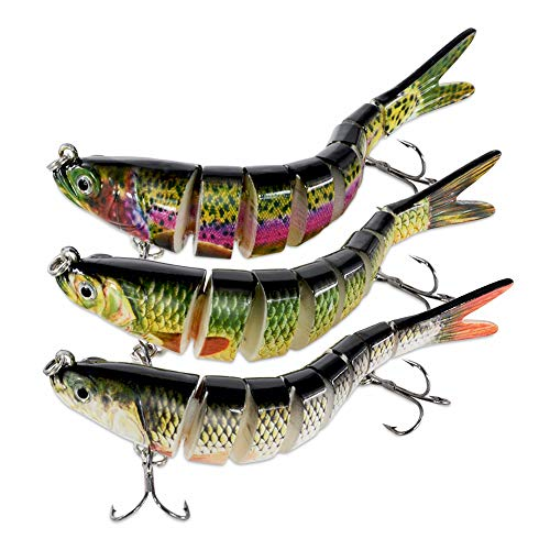 ROSE KULI Bass Fishing Lures Multi Jointed Life-Like Trout for Freshwater Saltwater