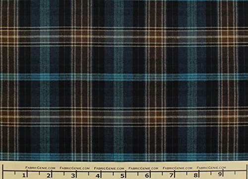 Casual Plaid Plaid Suiting Fabric, Stretch Suiting Fabric-TEAL/BROWN (Brown Suiting)