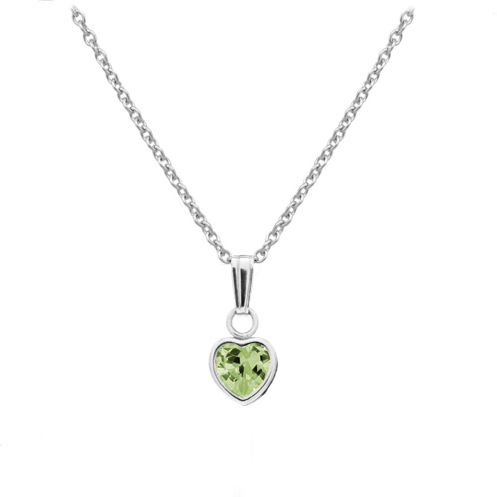 Little Girl's Sterling Silver Simulated August Birthstone Heart Pendant Necklace (13 in)