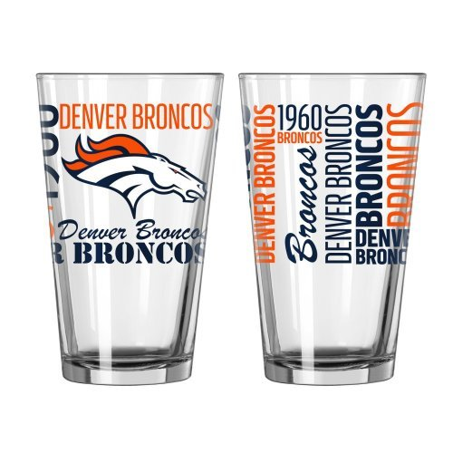 (2015 NFL Football Spirit Series Beer Pints - 16 ounce Mixing Glasses, Set of 2 (Broncos))