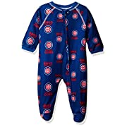 Outerstuff MLB Chicago Cubs Newborn Boys Sleepwear All Over Print Zip Up Coveralls, 0-3 Months, Deep Royal