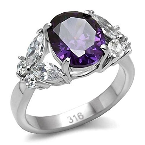 Women's Oval Cut Butterfly Stainless Steel Amethyst AAA CZ Ring Band 9 Brilliant Cut Butterfly Ring