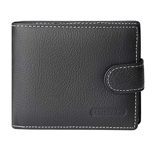 RFID Blocking Bifold Snap Closure Wallet With Coin Zipper Pocket For Men