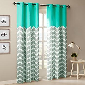 Intelligent Design Aqua Curtains For Living Room Modern Contemporary Grommet Darkening Bedroom
