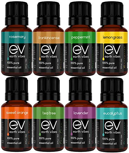 Earth Vibes Aromatherapy Top 8 Essential Oil Set – Therapeutic Grade – 100% Pure – Peppermint, Tea Tree, Lavender, Eucalyptus