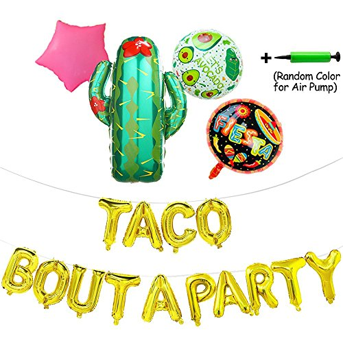 Taco Bout A Party Foil Ballons,24'' Large Cactus Ballon for Mexican Party Supplies,Fiesta Theme Baby Shower,Party Decorations Banner with Air Pump,19 Pcs by eccbox