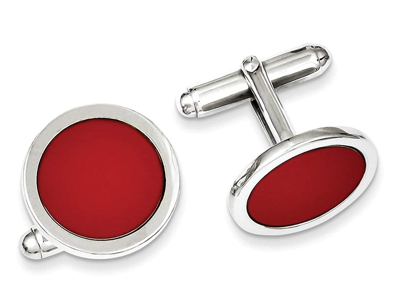 Italian Rhodium-Plated Sterling Silver Red Enameled Round Cuff Links, 18MM Cufflink Collection for Gents The Men's Jewelry Store