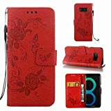 Strap Wallet Case for Samsung Galaxy S8,Aoucase Cute Butterfly Flower Painted Magnetic PU Leather Card Slot Kickstand Soft Slicone Flip Case with Black Dual-use Stylus,Red