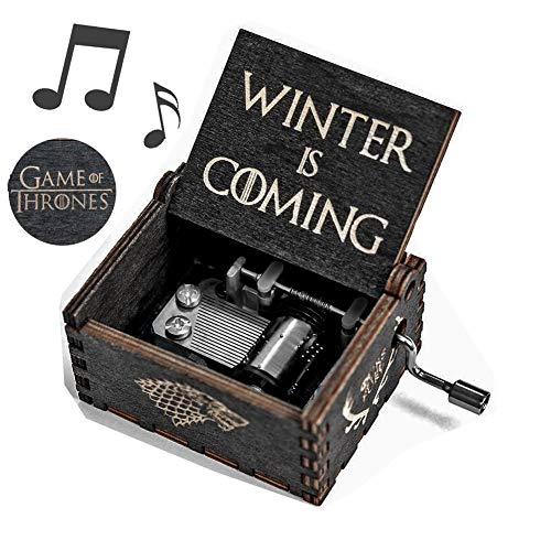 - Cerekony Music Box for Game-Thrones Merchandise Collectibles - Main Theme Hand Crank Carved Dragon Action Figure Best Gift for GOT Fans - Black