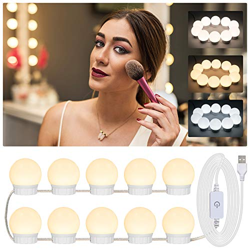 Maexus Mirror Lights, Vanity Mirror Lights with 10 Dimmable Bulbs & Touch Sensor USB Cable Hollywood Mirror Lights 3 Color Modes LED Mirror Lights for Makeup & Dressing (Mirror & Adapter not Included)