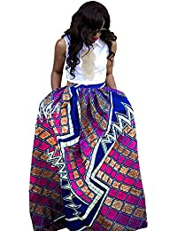 Womens African Floral Maxi Dress High Waist A Line Long Skirts with Pockets