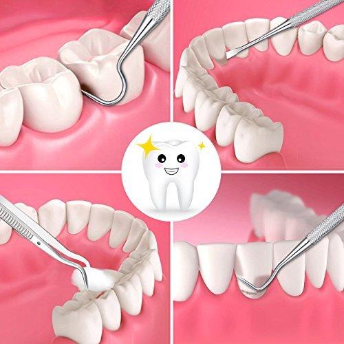 Dental Tools, ElleSye 8 PACK Dental Pick Oral Care Kit, Stainless Steel Dental Hygiene Kit Set, Tooth Scraper Plaque Tartar Dental Scaler Tweezers Mouth Mirror for Personal & Pet Oral Care Use by ELLESYE (Image #5)