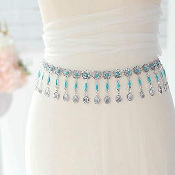 Women Antique Silver Metal Vintage Fashion Belt Turquoise Blue Bead Flowers S M
