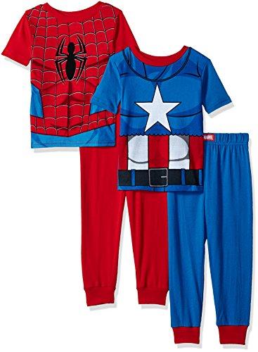 Marvel Big Boys' Heroes 4-Piece Cotton Pajama Set, Blue Spider, 8 (Boys Pajamas Short Sleeve)
