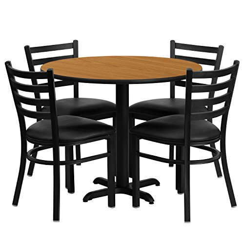 Flash Furniture 36'' Round Natural Laminate Table Set with 4 Ladder Back Metal Chairs - Black Vinyl Seat ()