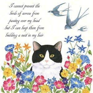 Alice's Cottage AC34463 Cat & Swallows Flour Sack Towel (Set of 2)