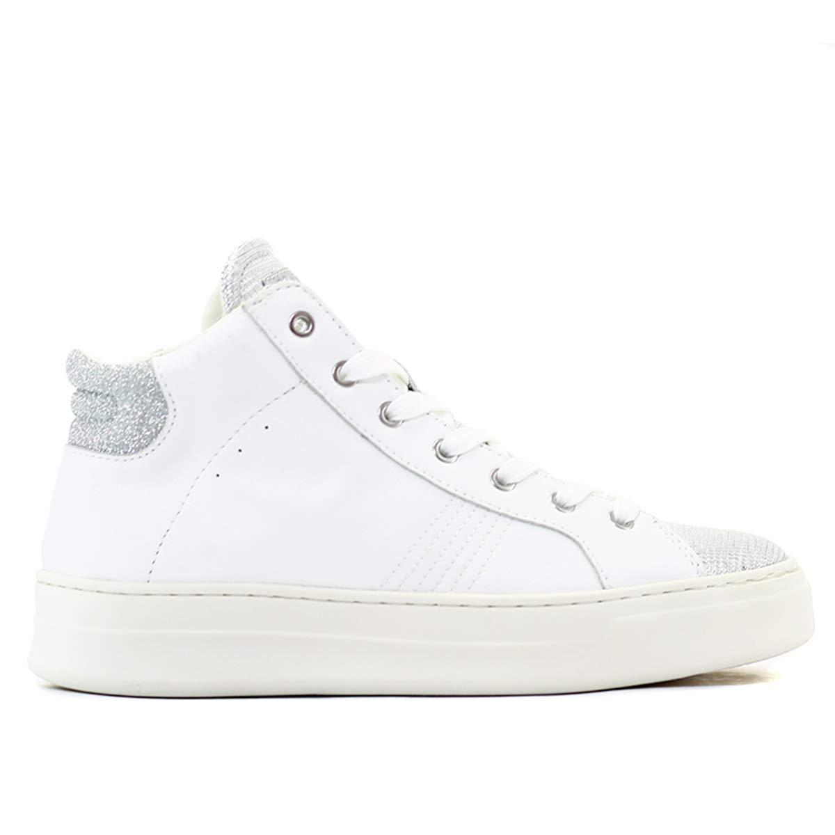 Sneakers alta pelle biancoargento. Crime London