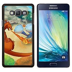 YiPhone /// Prima de resorte delgada de la cubierta del caso de Shell Armor - Meter Monster Flaming Dragon Fight - Samsung Galaxy A7 A7000