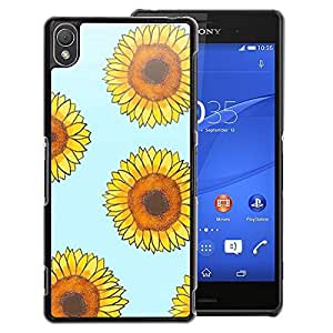 A-type Arte & diseño plástico duro Fundas Cover Cubre Hard Case Cover para Sony Xperia Z3 (Sunflower Blue Yellow Floral Pattern)