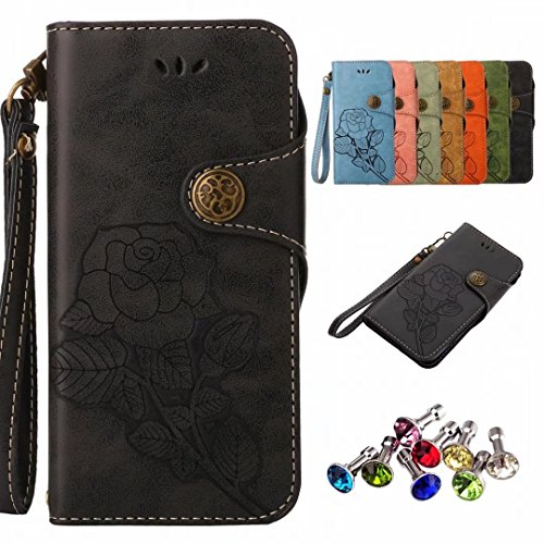 Huawei Covers P9 Lite Cover, Housing Cover Yiizy Roses Design Leather Flip Wallet Leather Case Cover Flap Shell Tpu Silicone Case Magnetic Bumper Protector Black Slim Stand Style Slot Cards