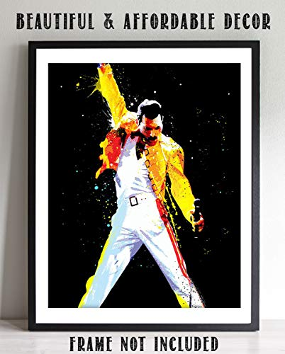 (Freddie Mercury-Watercolor Art Print- 8 x 10 Wall Print- Ready To Frame- Queens Leader in Iconic Pose. Home Decor-Studio-Bar-Man Cave Decor. Perfect Inspirational Gift For All Freddie & Queen Fans.)