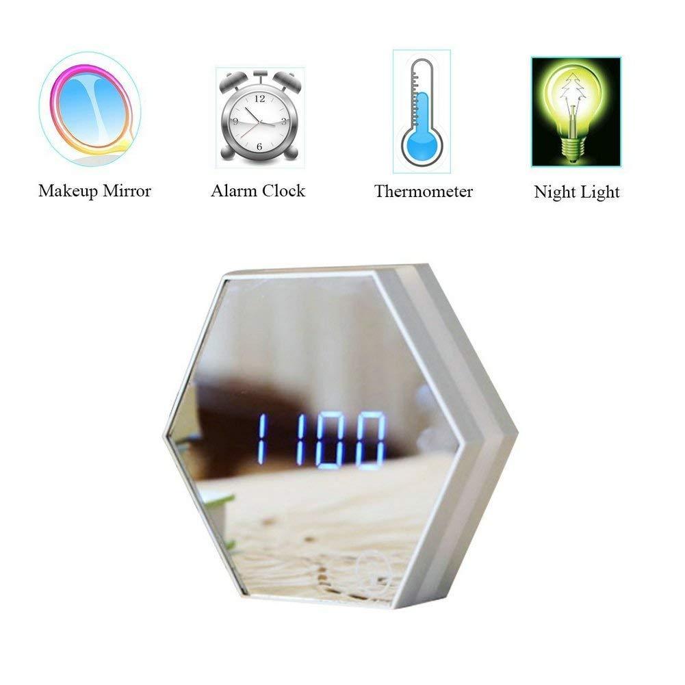 Multi-Function Hexagon Mirror Alarm Clock Portable,Flat Makeup Mirror with Touch Sensor Night Light Date Temperature Display Travel Alarm Clock