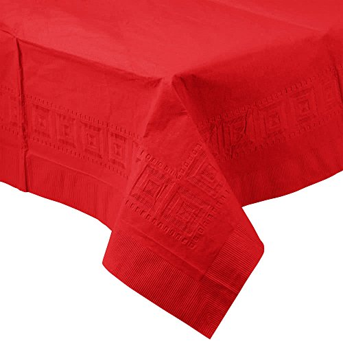711031B 54'' x 108'' Classic Red Tissue / Poly Table Cover - 24/Case By TableTop King by TableTop King