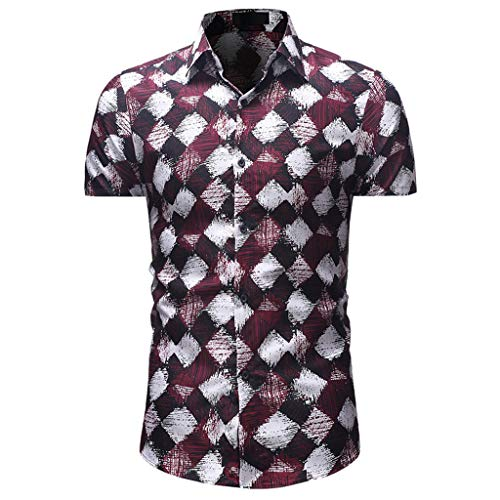 YOcheerful Men's Tops Printed Casual Button Down Short Sleeve Shirts Loose Tops Daily Blouses Wine