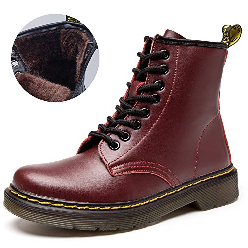 Neve Cavaliere caldo Pelliccia Stivali Rosso Donna SITAILE Inverno Uomo Pelliccia Stivaletti B Snow Stivali Stringati Boots qCvxawI8n