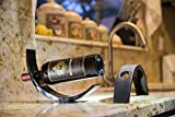 California Modern Kitchens - Arc Design Lacquer Wood Wine Bottle Holder - Balances Wine in the Air (Black)