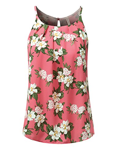 Pink Floral Tank Top (JJ Perfection Women's Round Neck Front Pleated Chiffon Cami Tank Top Coral S)