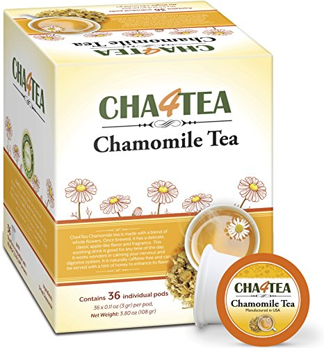 Cha4Tea 36-Count Pure Camomile Herbal Tea K Cups for Keurig K-Cup - Bedtime/Sleep-well/Nightly Calm/Relaxing Tea