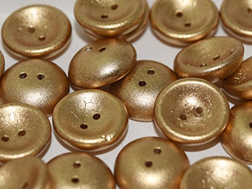 4pcs Czech Pressed Glass Cup Button Beads 2-Hole, 14mm, Aztec Gold
